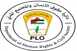 """حقوق الانسان بمنظمة التحرير تدين تصنيف مؤسسات فلسطينية كـ""""منظمات إرهابية"""""""