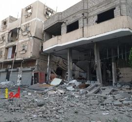 بالصور.. اثار الدمار لقصف طائرات الاحتلال بنك الانتاج وسط مدينة خانيونس