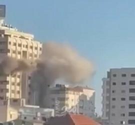 طائرات الاحتلال تستهدف برج مشتهي (القاهرة) دوار المالية غرب غزة - فيديو