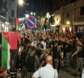 تظاهرة قرب سخنين احتجاجا على تفشي الجريمة في أراضي الـ 48