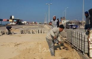 غزة: سلطة الموانئ البحرية تشرع بالمرحلة النهائية لمشروع تبليط الشارع الجنوبي