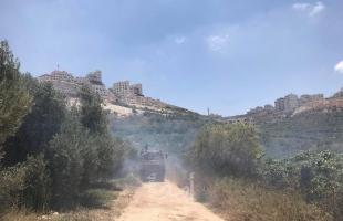 طواقم الدفاع المدني تسيطر على حريق اندلع في دونمات أشجار زيتون غرب نابلس