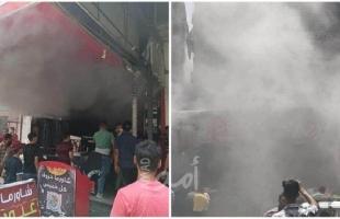 الدفاع المدني يسيطر على حريق اندلع في مطعم للشورما شمال القطاع