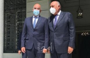 شكري يبحث مع وزير خارجية اليونان الأزمات الإقليمية وتطورات الاتفاق الإسرائيلي مع الإمارات والبحرين