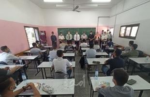 """محاكاة في مدارس خانيونس لفحص إجراءات العودة الآمنة في ظل """"كورونا""""-صور"""