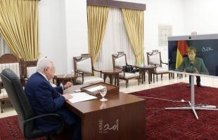 تفاصيل الاتصال المرئي بين الرئيس عباس والمستشارة الألمانية
