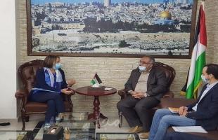 سرحان يلتقي منسق الشؤون الإنسانية في الأراضي الفلسطينية ويناقش معها عدد من القضايا