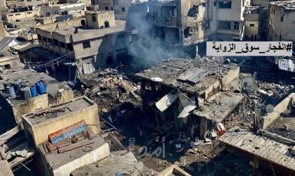 """مشاهد مرعبة لإصابات ودمار  انفجار """"سوق الزاوية"""" بغزة- فيديو"""