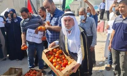 وقفة احتجاجية لمزارعي غزة ضد شروط إسرائيل التعجيزية على تصدير منتجاتهم