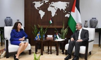 اشتية يبحث مع وزيرة خارجية السويد المساعي لخلق مسار سياسي ينهي الاحتلال
